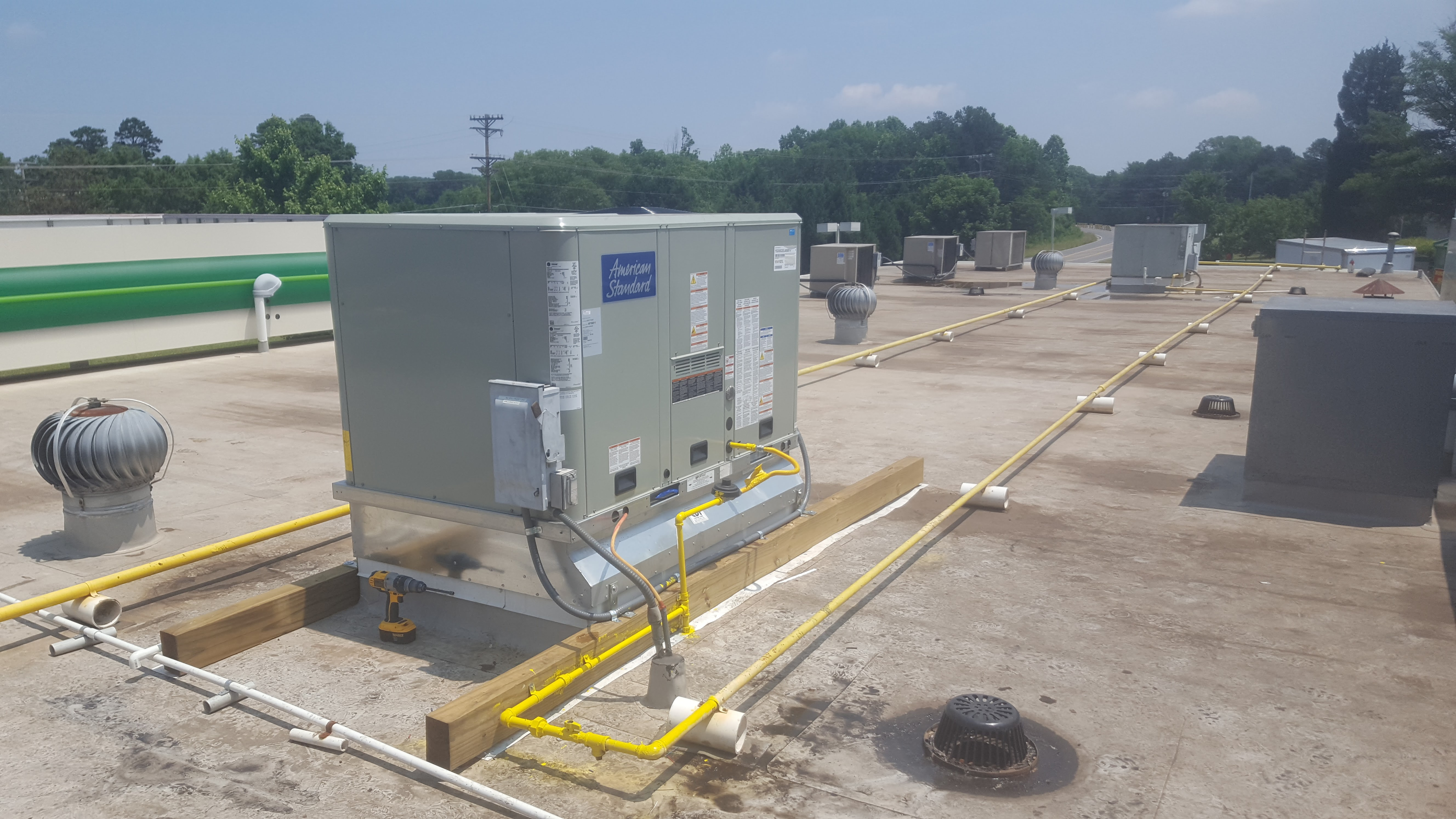 Commercial HVAC heat and air conditioning systems.
